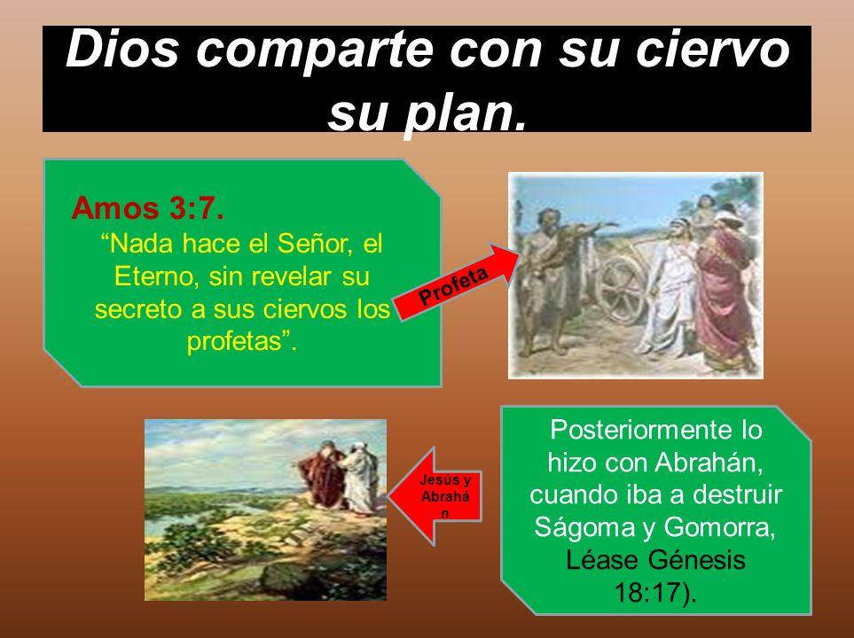 Dios comparte con su ciervo su plan. Amos 3:7. Nada hace el Señor, el Eterno, sin revelar su secreto a sus ciervos los profetas. Posteriormente lo hiz