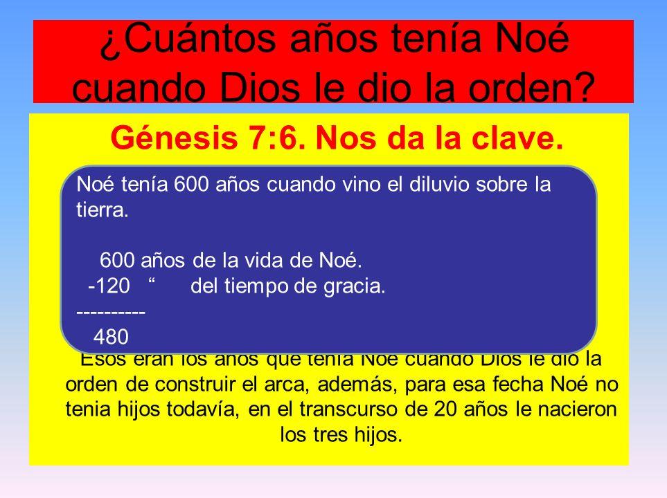 ¿Cuántos años tenía Noé cuando Dios le dio la orden? Génesis 7:6. Nos da la clave. Esos eran los años que tenía Noé cuando Dios le dio la orden de con