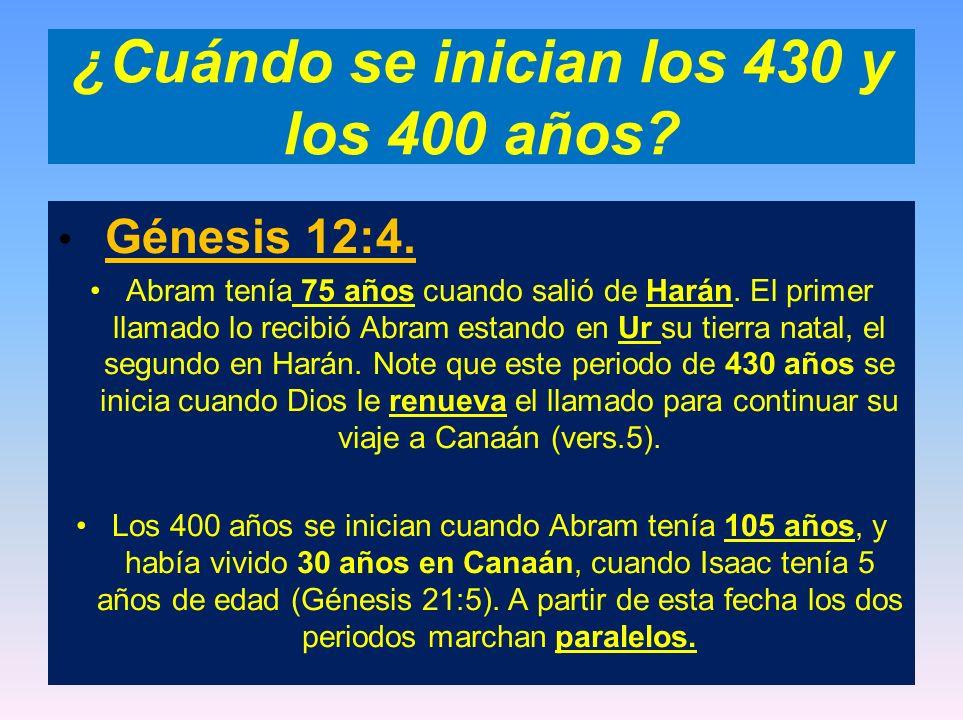 ¿Cuándo se inician los 430 y los 400 años? Génesis 12:4. Abram tenía 75 años cuando salió de Harán. El primer llamado lo recibió Abram estando en Ur s