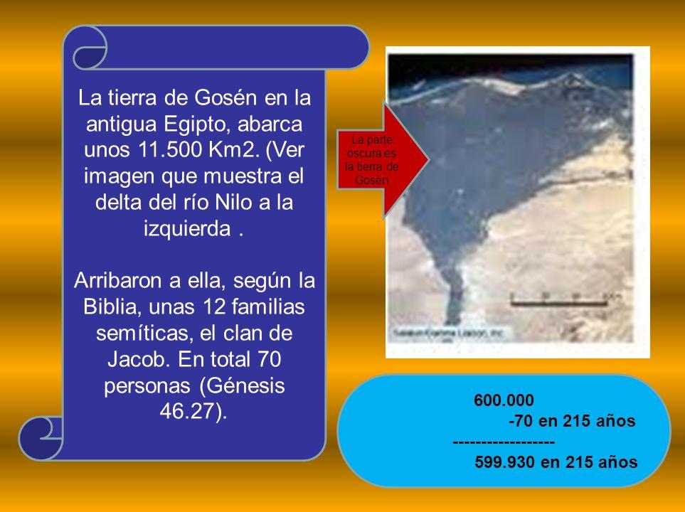 La tierra de Gosén en la antigua Egipto, abarca unos 11.500 Km2. (Ver imagen que muestra el delta del río Nilo a la izquierda. Arribaron a ella, según