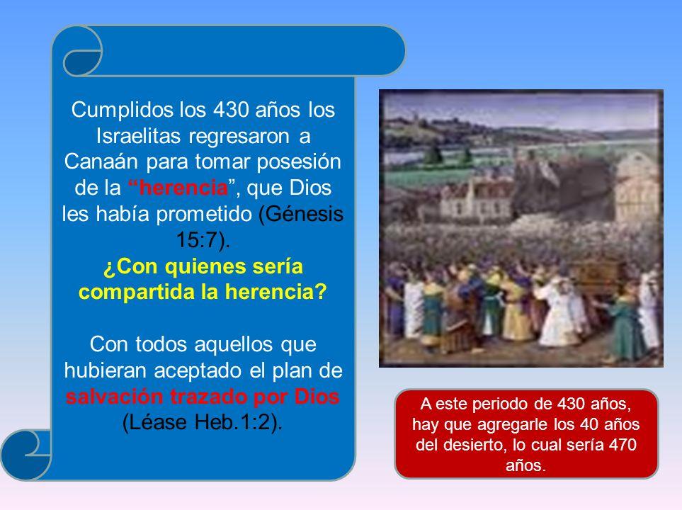 Cumplidos los 430 años los Israelitas regresaron a Canaán para tomar posesión de la herencia, que Dios les había prometido (Génesis 15:7). ¿Con quiene