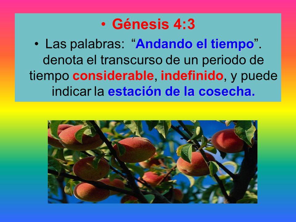 Génesis 4:3 Andando el tiempo estación de la cosecha.Las palabras: Andando el tiempo. denota el transcurso de un periodo de tiempo considerable, indef