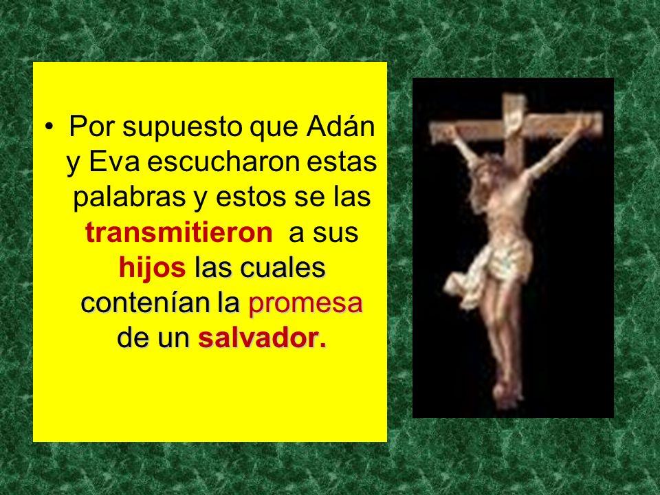 las cuales contenían la promesa de un salvador.Por supuesto que Adán y Eva escucharon estas palabras y estos se las transmitieron a sus hijos las cual