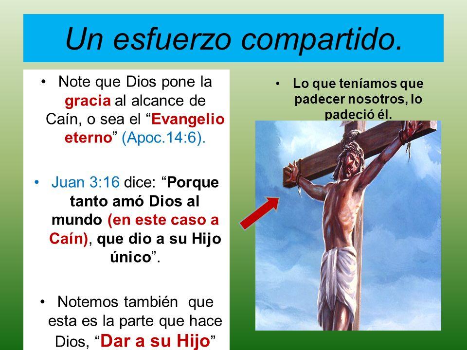 Un esfuerzo compartido. Note que Dios pone la gracia al alcance de Caín, o sea el Evangelio eterno (Apoc.14:6). Juan 3:16 dice: Porque tanto amó Dios