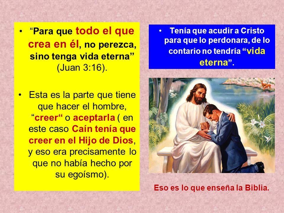 Para que todo el que crea en él, no perezca, sino tenga vida eterna (Juan 3:16). Esta es la parte que tiene que hacer el hombre,creer o aceptarla ( en