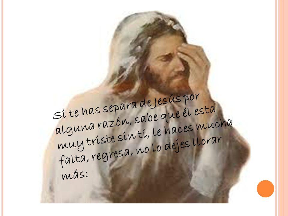 Si te has separa de Jesús por alguna razón, sabe que él esta muy triste sin ti, le haces mucha falta, regresa, no lo dejes llorar más: