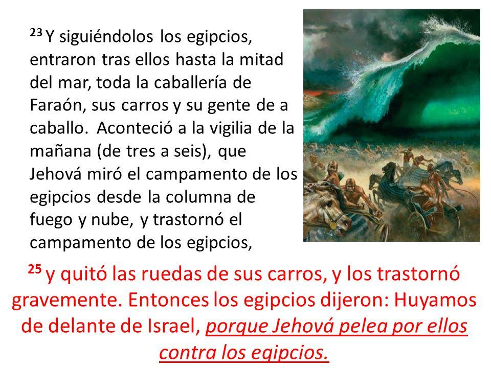 23 Y siguiéndolos los egipcios, entraron tras ellos hasta la mitad del mar, toda la caballería de Faraón, sus carros y su gente de a caballo. Aconteci