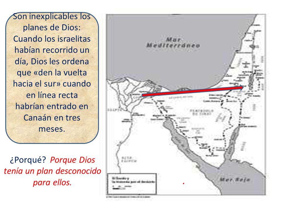 Son inexplicables los planes de Dios: Cuando los israelitas habían recorrido un día, Dios les ordena que «den la vuelta hacia el sur» cuando en línea