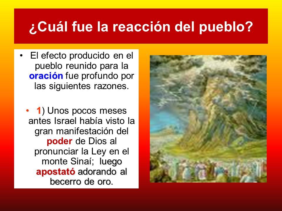 ¿Cuál fue la reacción del pueblo? oraciónEl efecto producido en el pueblo reunido para la oración fue profundo por las siguientes razones. 1 luego apo