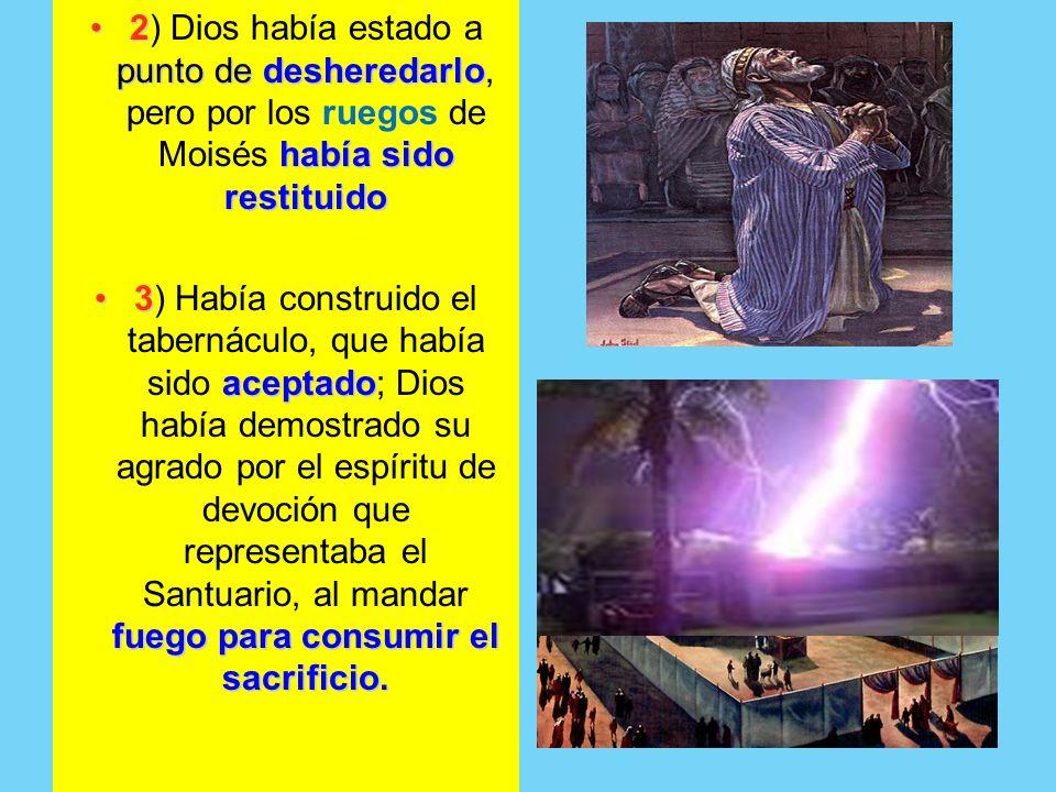 2 punto de desheredarlo había sido restituido2) Dios había estado a punto de desheredarlo, pero por los ruegos de Moisés había sido restituido 3 acept