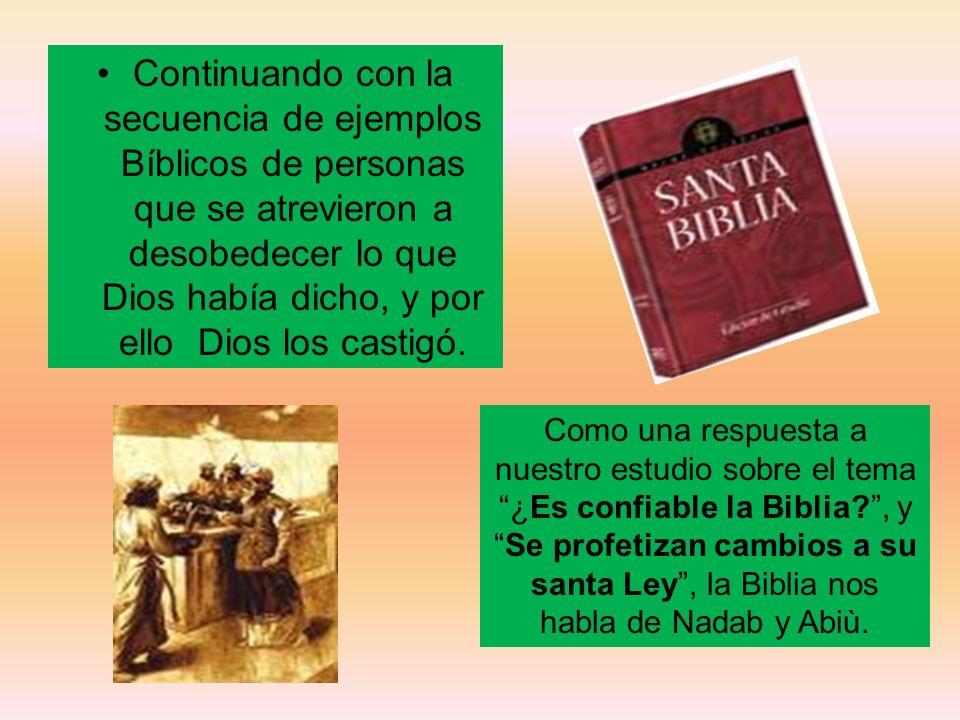 Continuando con la secuencia de ejemplos Bíblicos de personas que se atrevieron a desobedecer lo que Dios había dicho, y por ello Dios los castigó. Co