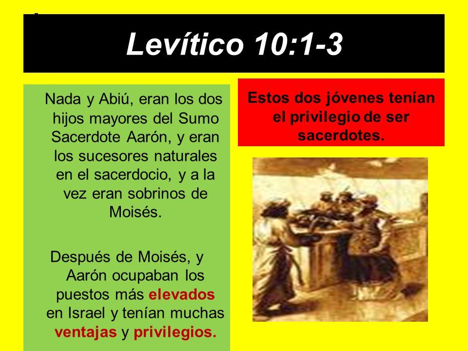 Levítico 10:1-3 Nada y Abiú, eran los dos hijos mayores del Sumo Sacerdote Aarón, y eran los sucesores naturales en el sacerdocio, y a la vez eran sob