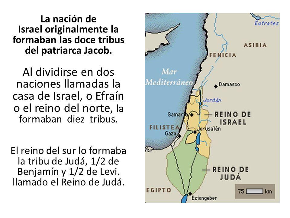 La nación de Israel originalmente la formaban las doce tribus del patriarca Jacob. Al dividirse en dos naciones llamadas la casa de Israel, o Efraín o