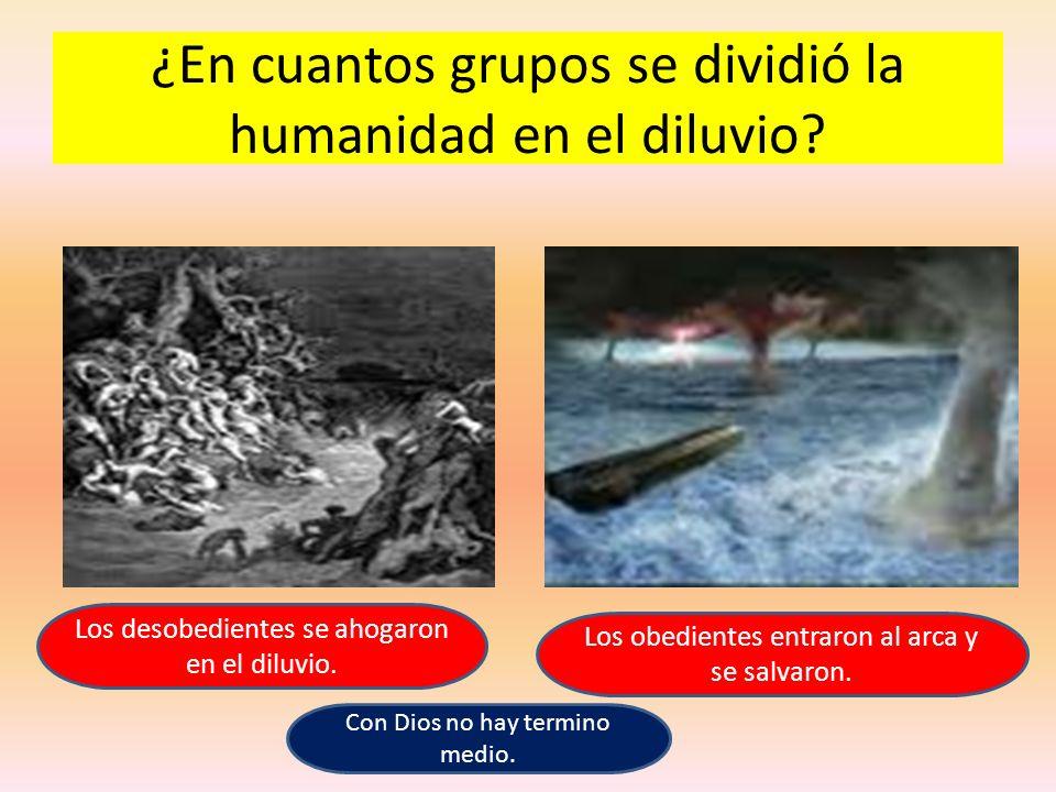 ¿En cuantos grupos se dividió la humanidad en el diluvio? Los desobedientes se ahogaron en el diluvio. Los obedientes entraron al arca y se salvaron.