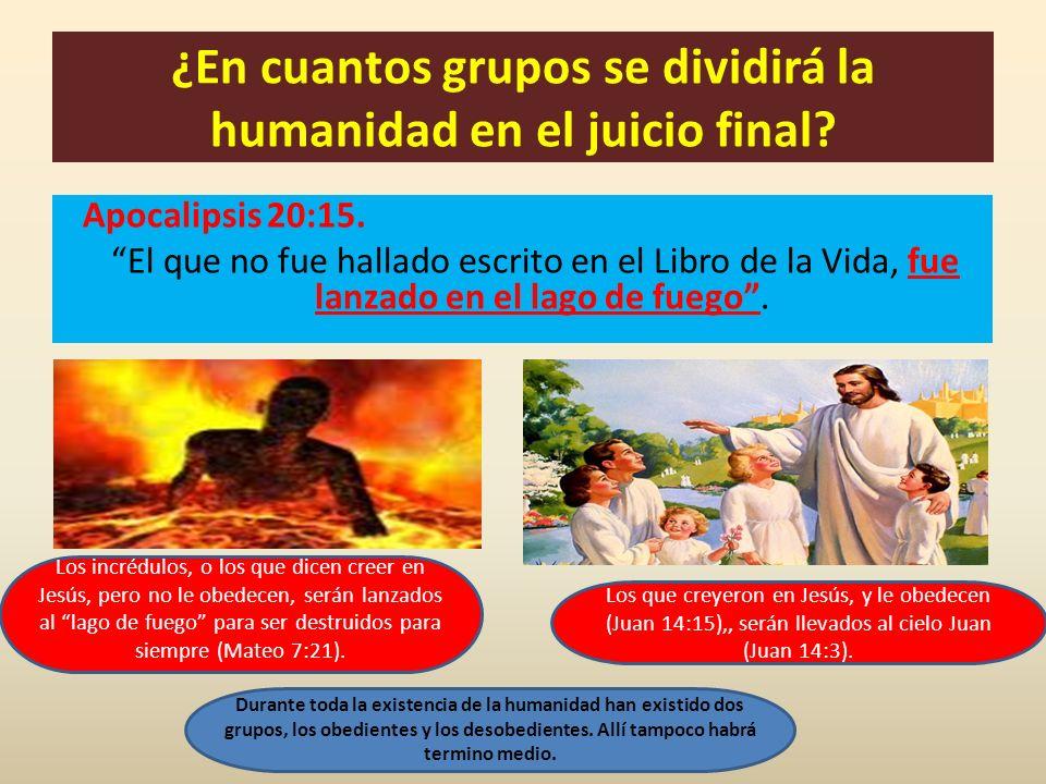 ¿En cuantos grupos se dividirá la humanidad en el juicio final? Apocalipsis 20:15. El que no fue hallado escrito en el Libro de la Vida, fue lanzado e