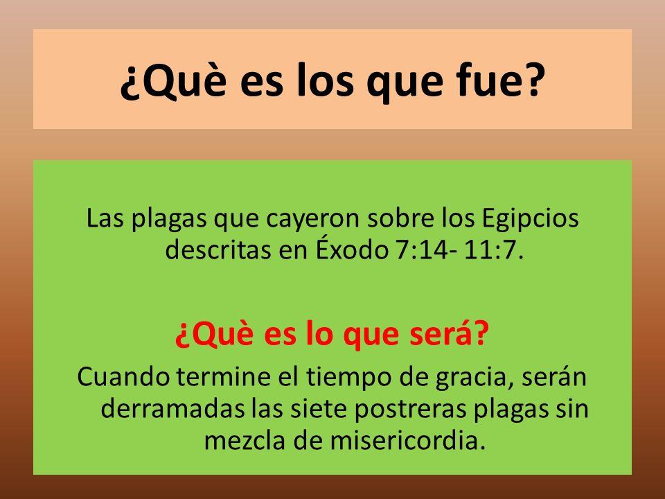 ¿Què es los que fue? Las plagas que cayeron sobre los Egipcios descritas en Éxodo 7:14- 11:7. ¿Què es lo que será? Cuando termine el tiempo de gracia,