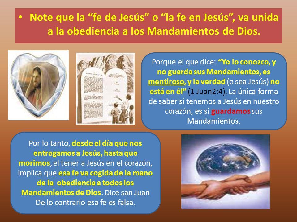 Note que la fe de Jesús o la fe en Jesús, va unida a la obediencia a los Mandamientos de Dios. Por lo tanto, desde el día que nos entregamos a Jesús,