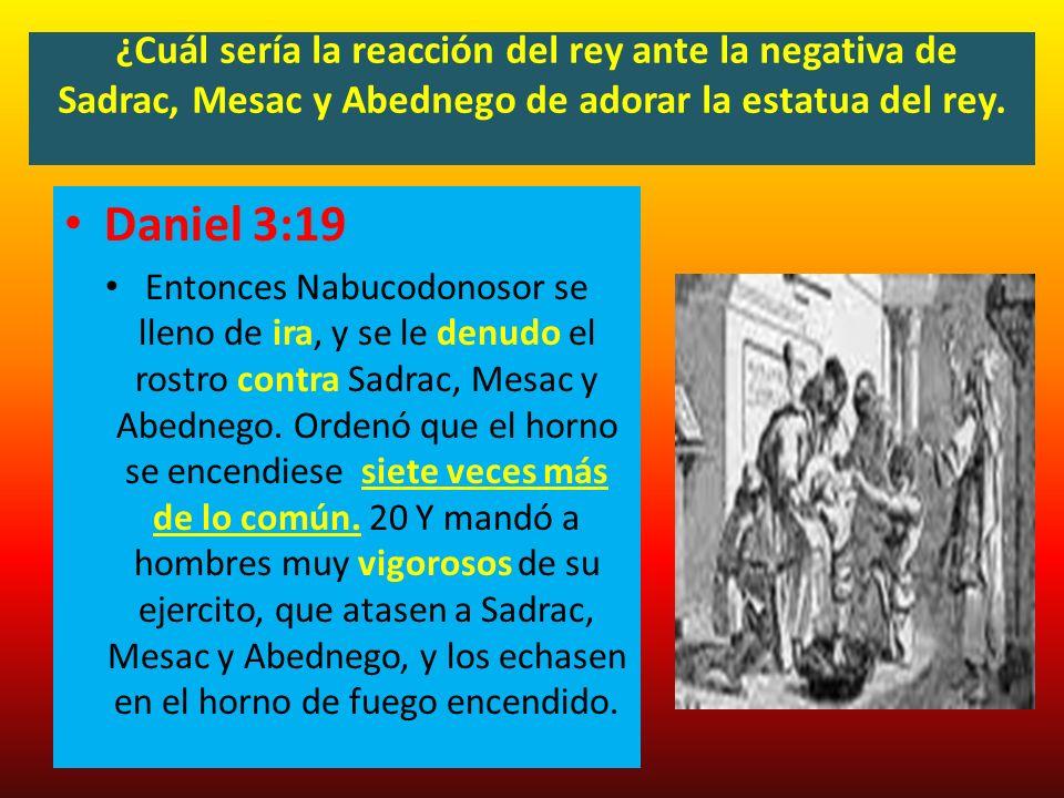 ¿Cuál sería la reacción del rey ante la negativa de Sadrac, Mesac y Abednego de adorar la estatua del rey. Daniel 3:19 Entonces Nabucodonosor se lleno