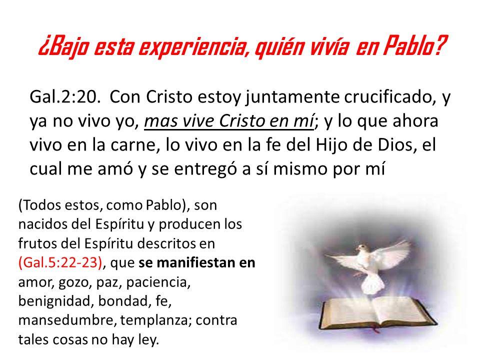 ¿Bajo esta experiencia, quién vivía en Pablo? Gal.2:20. Con Cristo estoy juntamente crucificado, y ya no vivo yo, mas vive Cristo en mí; y lo que ahor