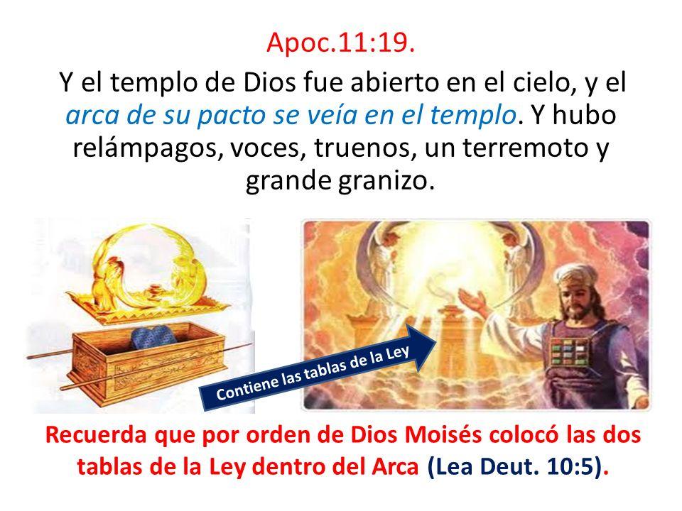 Apoc.11:19. Y el templo de Dios fue abierto en el cielo, y el arca de su pacto se veía en el templo. Y hubo relámpagos, voces, truenos, un terremoto y