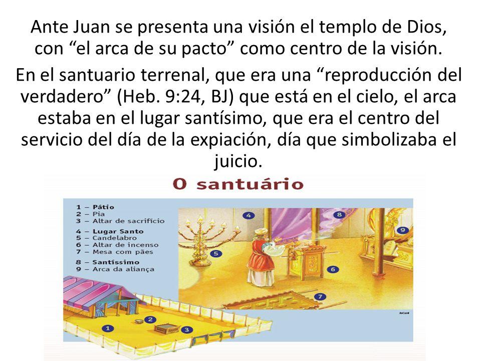 Ante Juan se presenta una visión el templo de Dios, con el arca de su pacto como centro de la visión. En el santuario terrenal, que era una reproducci