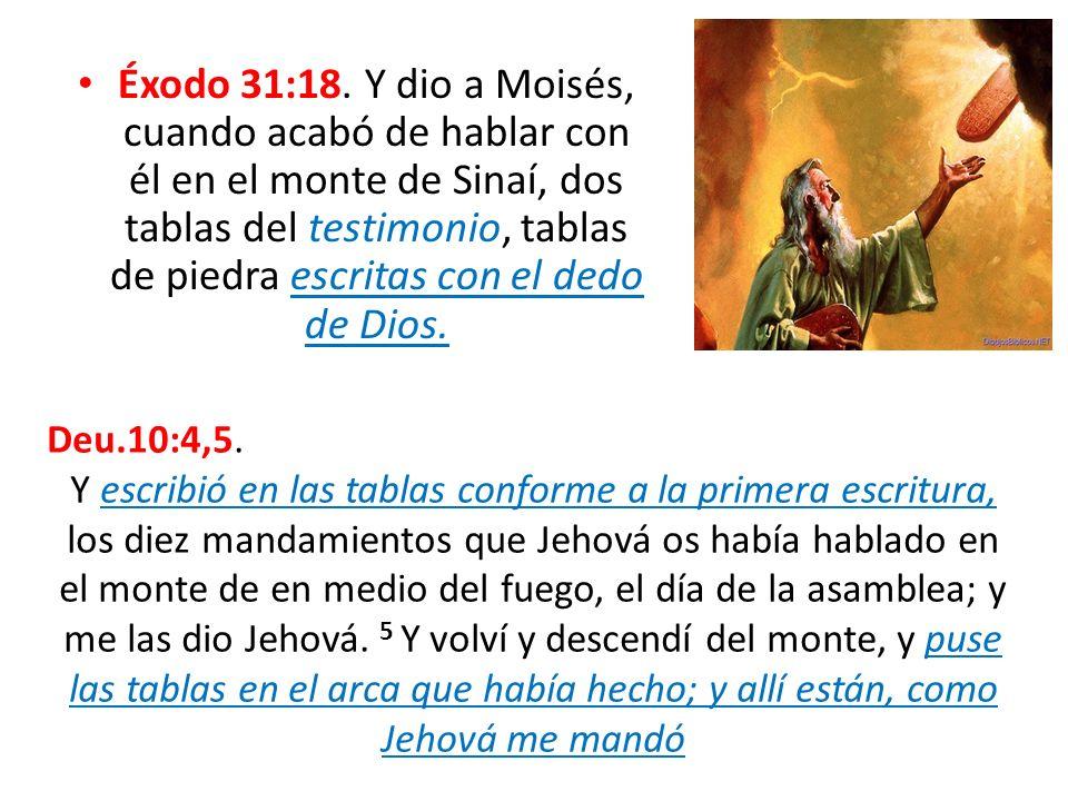 Éxodo 31:18. Y dio a Moisés, cuando acabó de hablar con él en el monte de Sinaí, dos tablas del testimonio, tablas de piedra escritas con el dedo de D