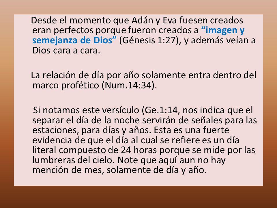 Desde el momento que Adán y Eva fuesen creados eran perfectos porque fueron creados a imagen y semejanza de Dios (Génesis 1:27), y además veían a Dios