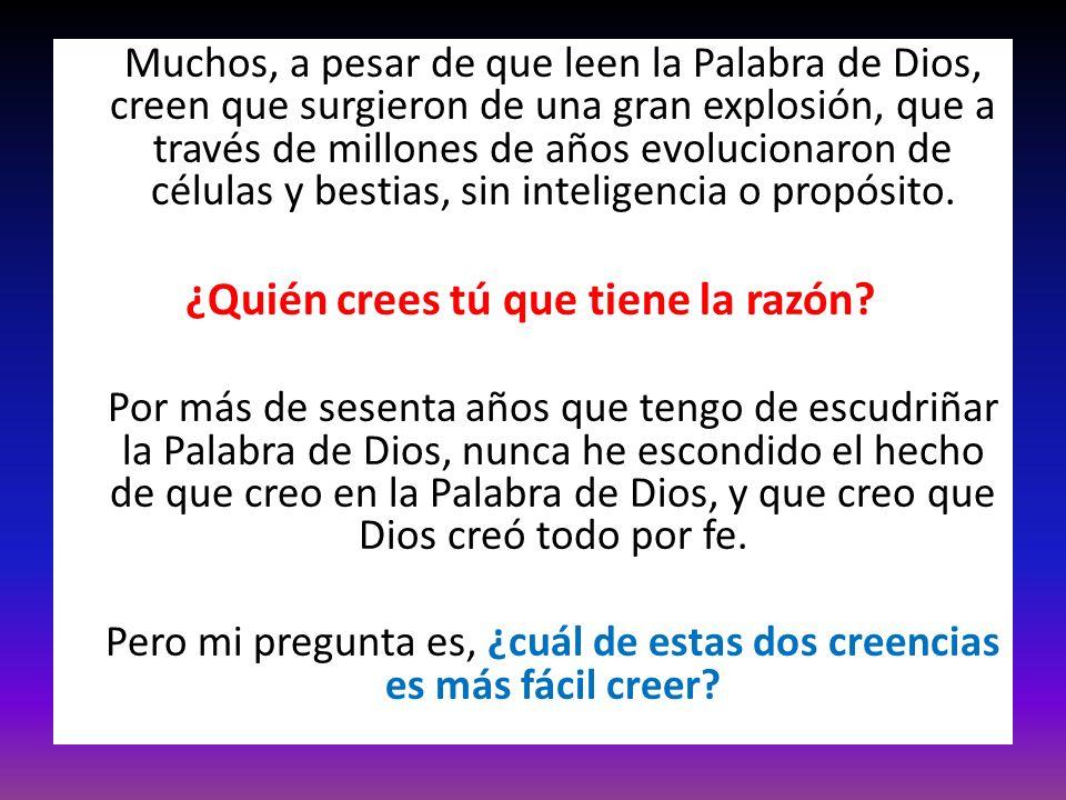 Muchos, a pesar de que leen la Palabra de Dios, creen que surgieron de una gran explosión, que a través de millones de años evolucionaron de células y