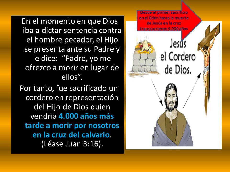 En el momento en que Dios iba a dictar sentencia contra el hombre pecador, el Hijo se presenta ante su Padre y le dice: Padre, yo me ofrezco a morir e