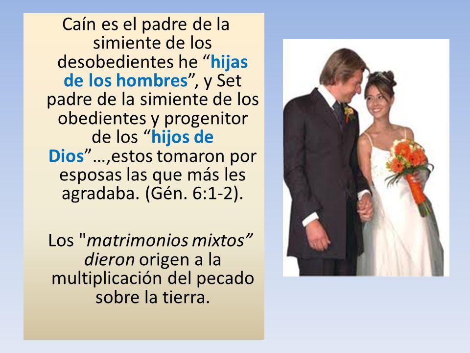 Caín es el padre de la simiente de los desobedientes he hijas de los hombres, y Set padre de la simiente de los obedientes y progenitor de los hijos d