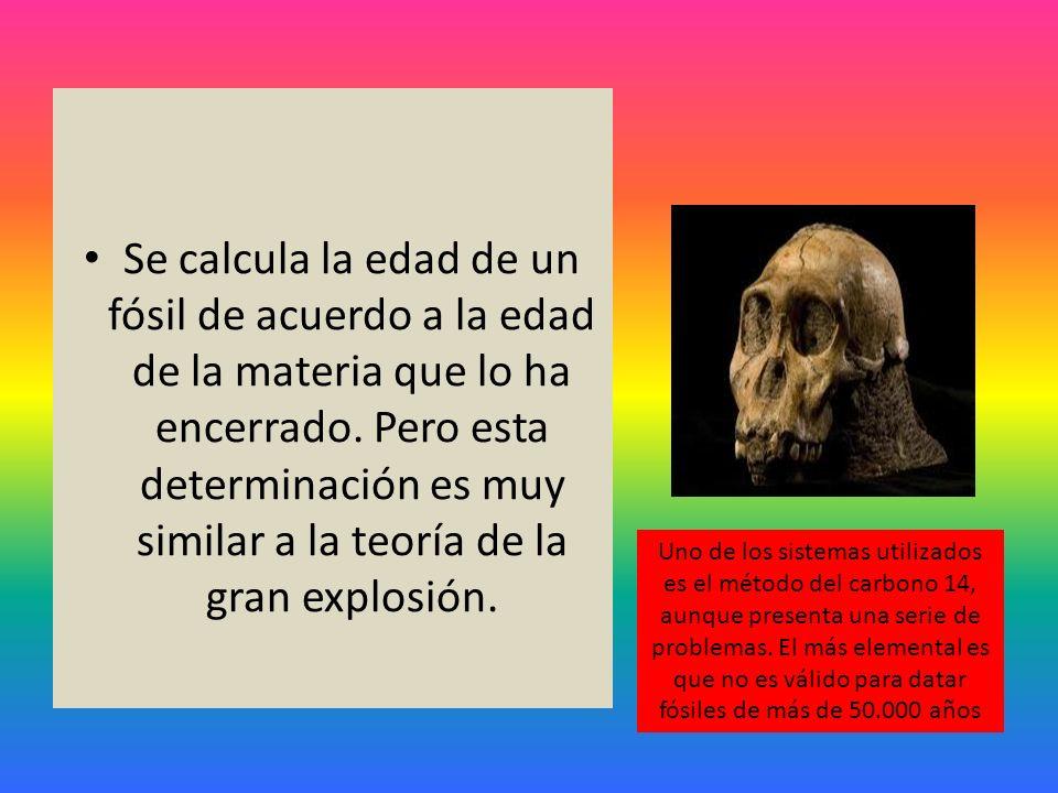 Se calcula la edad de un fósil de acuerdo a la edad de la materia que lo ha encerrado. Pero esta determinación es muy similar a la teoría de la gran e