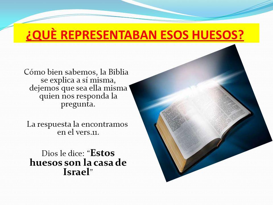 ¿QUÈ REPRESENTABAN ESOS HUESOS? Cómo bien sabemos, la Biblia se explica a sí misma, dejemos que sea ella misma quien nos responda la pregunta. La resp