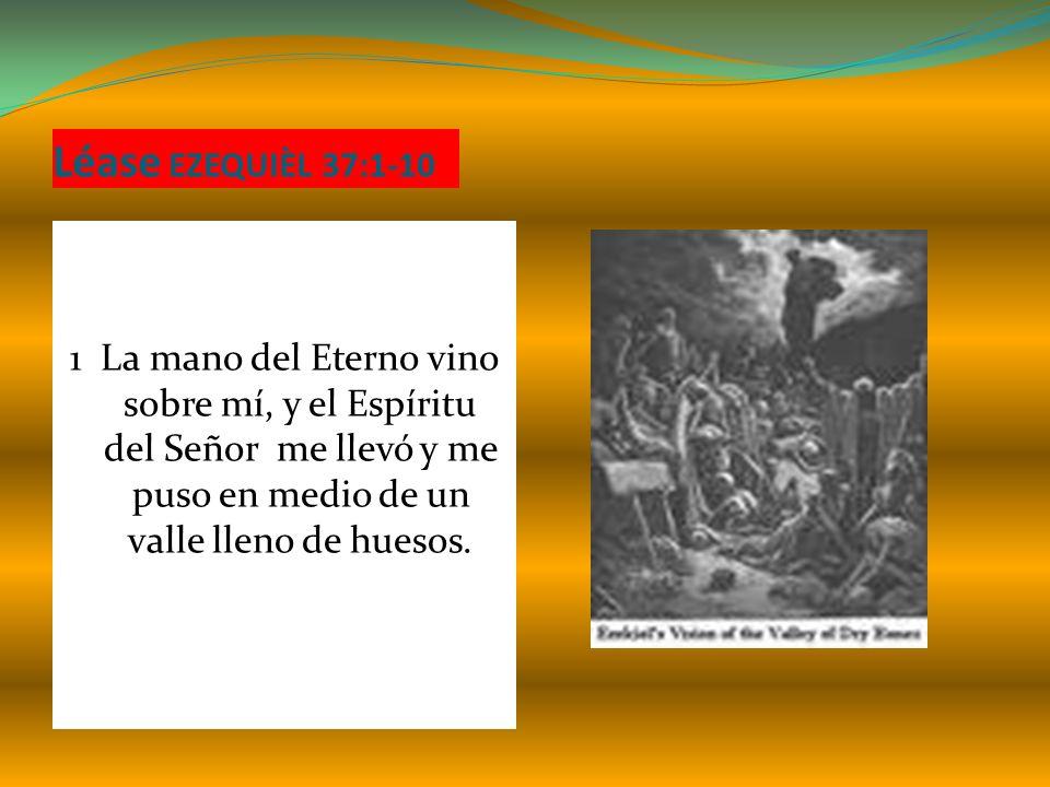 Léase EZEQUIÈL 37:1-10 1 La mano del Eterno vino sobre mí, y el Espíritu del Señor me llevó y me puso en medio de un valle lleno de huesos.