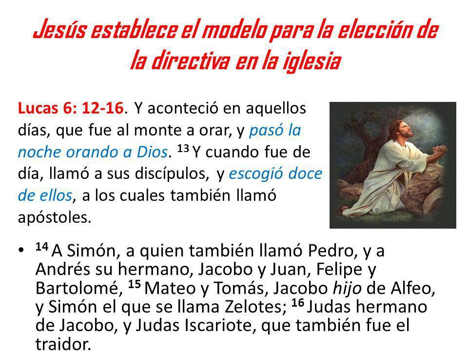 Jesús establece el modelo para la elección de la directiva en la iglesia 14 A Simón, a quien también llamó Pedro, y a Andrés su hermano, Jacobo y Juan
