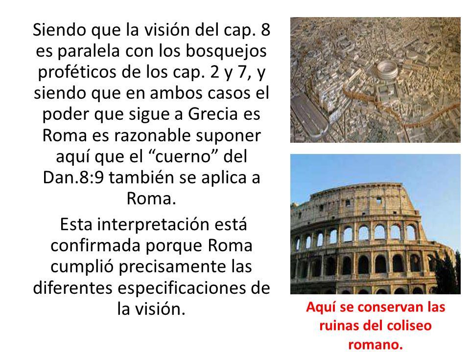 Siendo que la visión del cap. 8 es paralela con los bosquejos proféticos de los cap. 2 y 7, y siendo que en ambos casos el poder que sigue a Grecia es