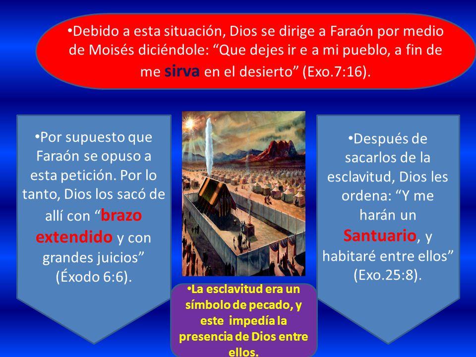 Debido a esta situación, Dios se dirige a Faraón por medio de Moisés diciéndole: Que dejes ir e a mi pueblo, a fin de me sirva en el desierto (Exo.7:1