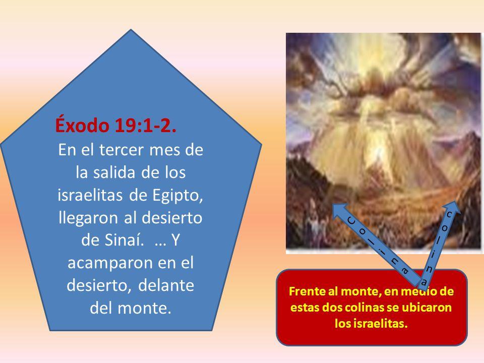 Frente al monte, en medio de estas dos colinas se ubicaron los israelitas. Éxodo 19:1-2. En el tercer mes de la salida de los israelitas de Egipto, ll