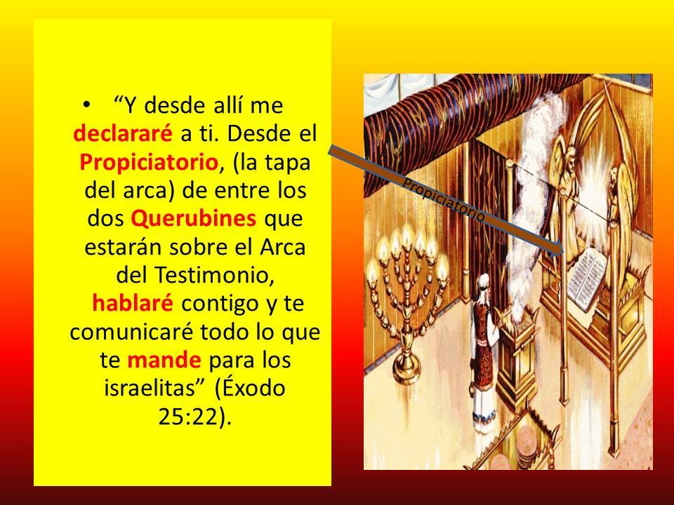 Y desde allí me declararé a ti. Desde el Propiciatorio, (la tapa del arca) de entre los dos Querubines que estarán sobre el Arca del Testimonio, habla
