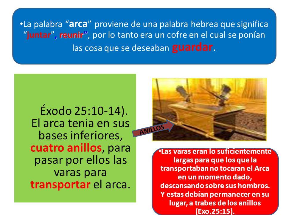 Éxodo 25:10-14). El arca tenia en sus bases inferiores, cuatro anillos, para pasar por ellos las varas para transportar el arca., reunir La palabra ar