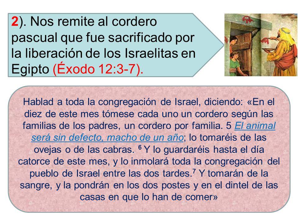 2). Nos remite al cordero pascual que fue sacrificado por la liberación de los Israelitas en Egipto (Éxodo 12:3-7). Hablad a toda la congregación de I