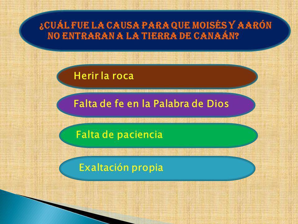 ¿Cuál fue la causa para que Moisés y Aarón no entraran a la tierra de Canaán? Exaltación propia Falta de paciencia Falta de fe en la Palabra de Dios H