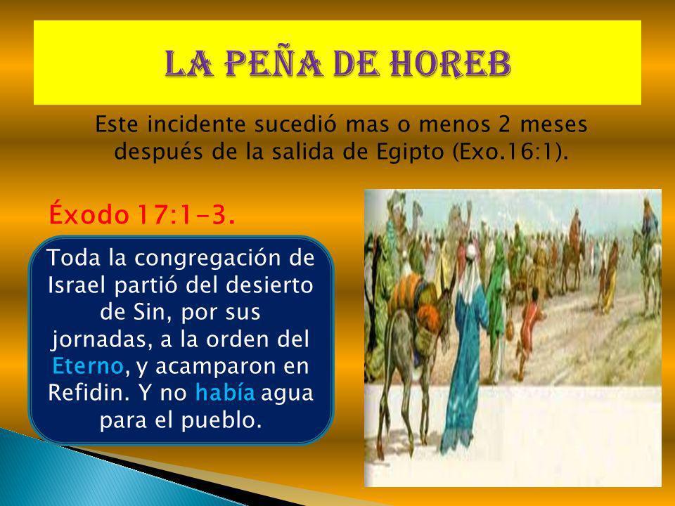 Este incidente sucedió mas o menos 2 meses después de la salida de Egipto (Exo.16:1). Éxodo 17:1-3. Toda la congregación de Israel partió del desierto