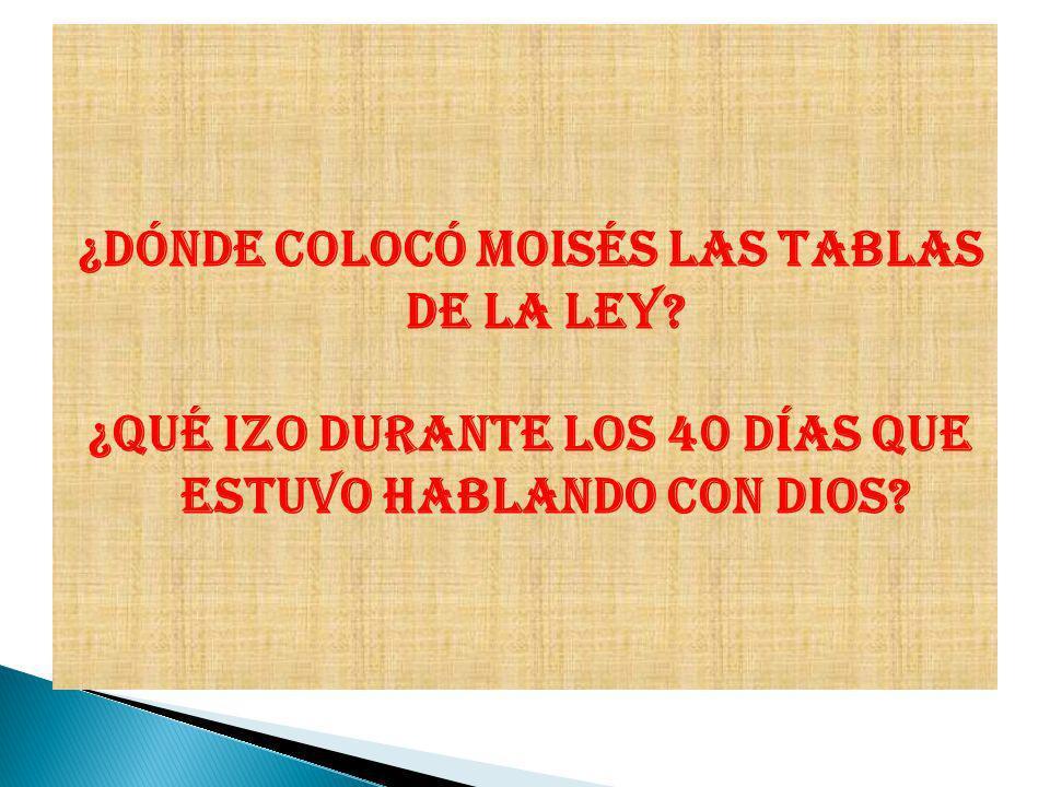 ¿Dónde colocó Moisés las tablas de la Ley? ¿Qué izo durante los 40 días que estuvo hablando con Dios?