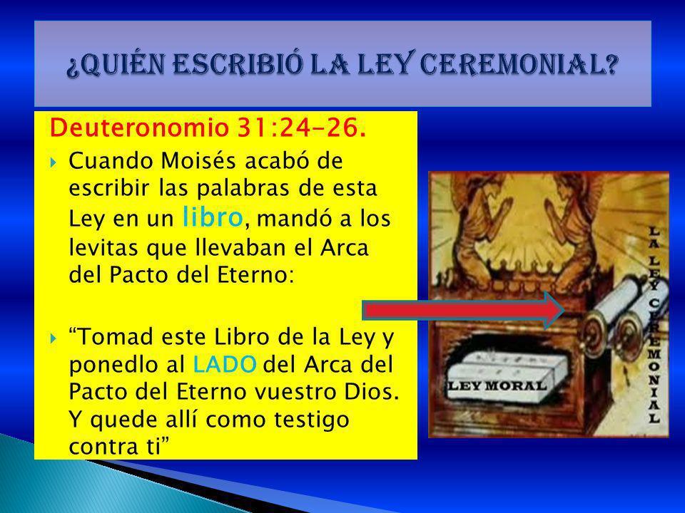 Deuteronomio 31:24-26. Cuando Moisés acabó de escribir las palabras de esta Ley en un libro, mandó a los levitas que llevaban el Arca del Pacto del Et