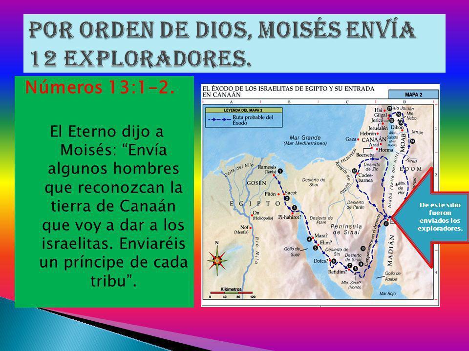 Números 13:1-2. El Eterno dijo a Moisés: Envía algunos hombres que reconozcan la tierra de Canaán que voy a dar a los israelitas. Enviaréis un príncip