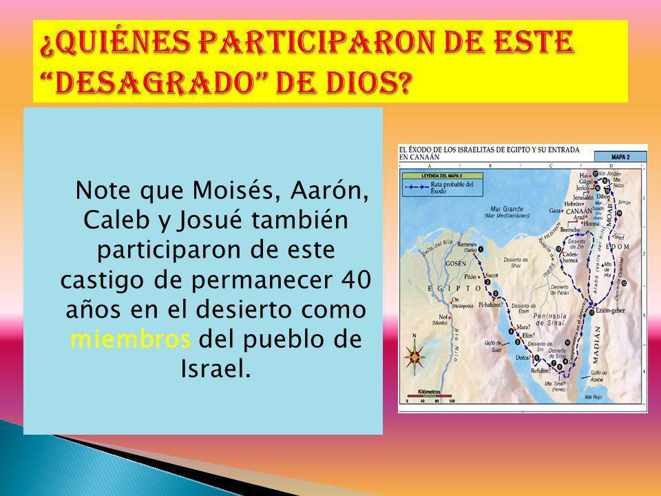 Note que Moisés, Aarón, Caleb y Josué también participaron de este castigo de permanecer 40 años en el desierto como miembros del pueblo de Israel.