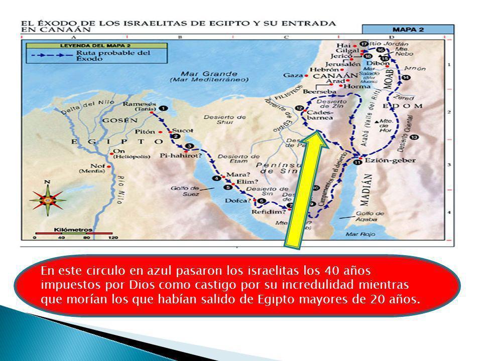En este circulo en azul pasaron los israelitas los 40 años impuestos por Dios como castigo por su incredulidad mientras que morían los que habían sali