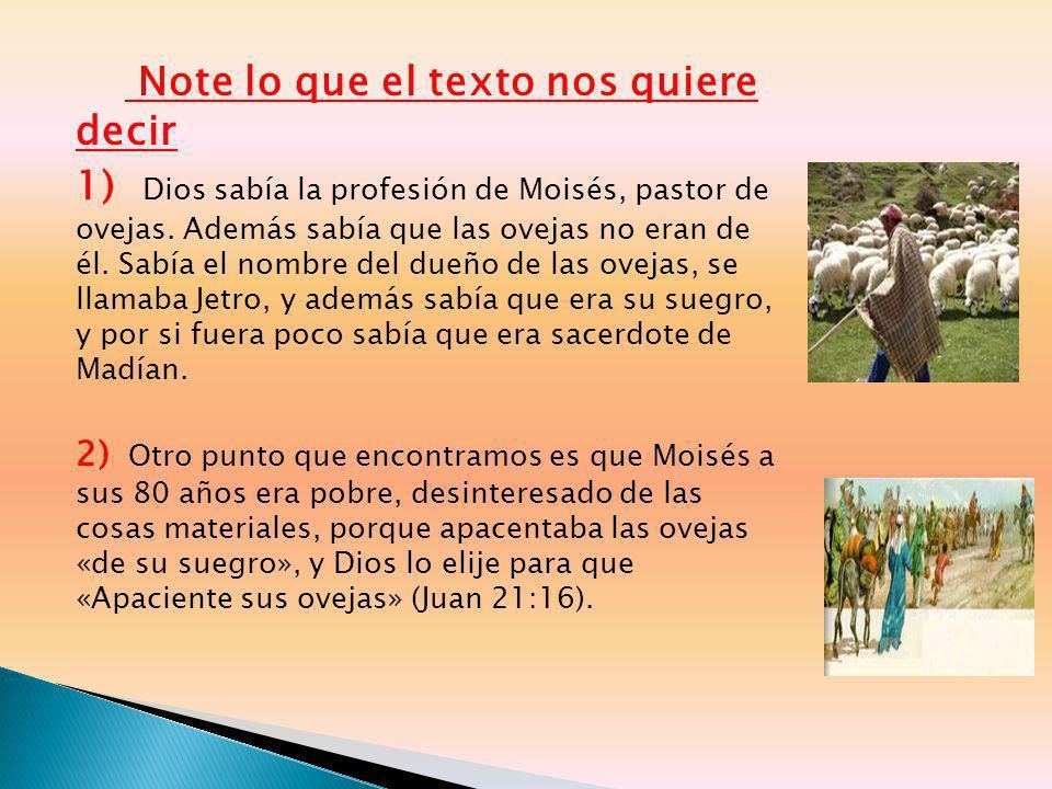 Note lo que el texto nos quiere decir 1) Dios sabía la profesión de Moisés, pastor de ovejas. Además sabía que las ovejas no eran de él. Sabía el nomb