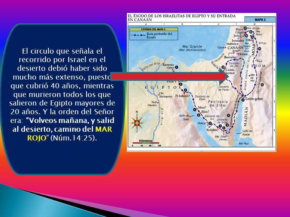 El circulo que señala el recorrido por Israel en el desierto debió haber sido mucho más extenso, puesto que cubrió 40 años, mientras que murieron todo