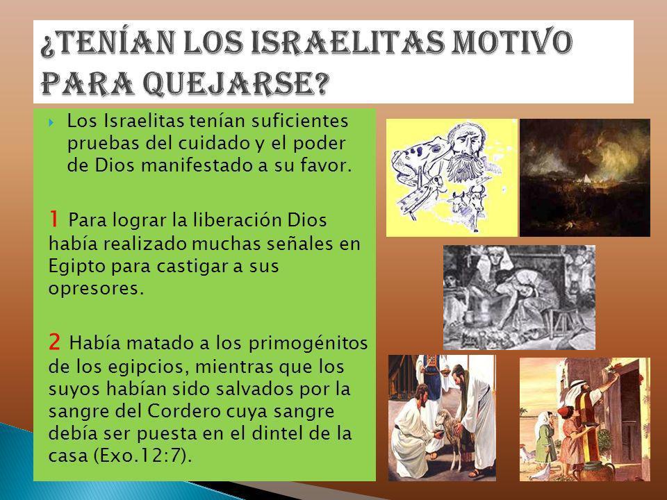 Los Israelitas tenían suficientes pruebas del cuidado y el poder de Dios manifestado a su favor. 1 Para lograr la liberación Dios había realizado much